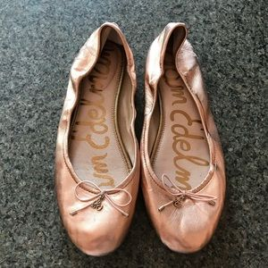 Rose Gold Sam Edelman Leather Flats size 11 *as is